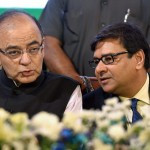 Arun Jaitley, Union Minister of Finance and Corporate Affairs and Urjit Patel, RBI Deputy Governor during the launch of Pradhan Mantri Suraksha Bima Yojana, Atal Pension Yojana and Pradhan Mantri Jeevan Jyoti Bima Yojana in Mumbai on Saturday. PTI Photo by Mitesh Bhuvad(PTI5_9_2015_000161B)
