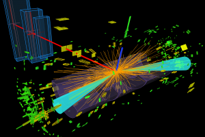 A Higgs boson decaying into 2 tau leptons (azure cones), which subsequently decay into either an electron (blue line) or a muon (red line). Credit: ATLAS/CERN