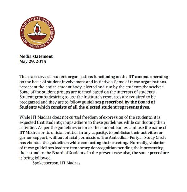 Statement issued by the IIT Madras spokesperson