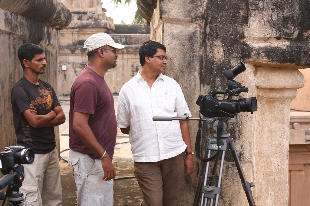 Kombai S Anwar, with his team while shooting for the Big Temple film.