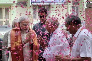 Prime Minister Modi being welcomed in Mathura for his May 25 rally (Credit: PTI)