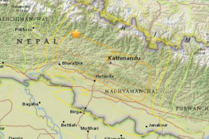 The location of the May 12 earthquake's epicentre, closer to Mount Everest than the April 25 quake. Credit: USGS