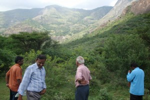 Officials inspecting the surroundings of Ambarappa Hill, which has been earmarked as the site of the INO. Credit: INO/TIFR