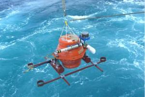 Deploying an ocean bottom seismometer. Credit: Yusuke Yamashita, ERI, Univ. of Tokyo, Japan