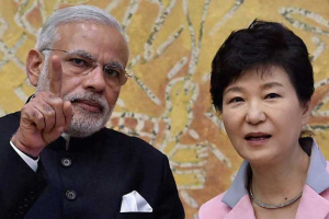Prime Minister Narendra Modi with Korean President Park Geun-hye [Credit: PTI]