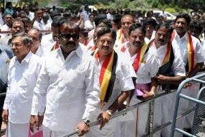 Desiya Murpokku Dravida Kazhagam president Vijayakanth and his party MLAs seen here outside the Tamil Nadu Assembly in 2011 [Credit: PTI]