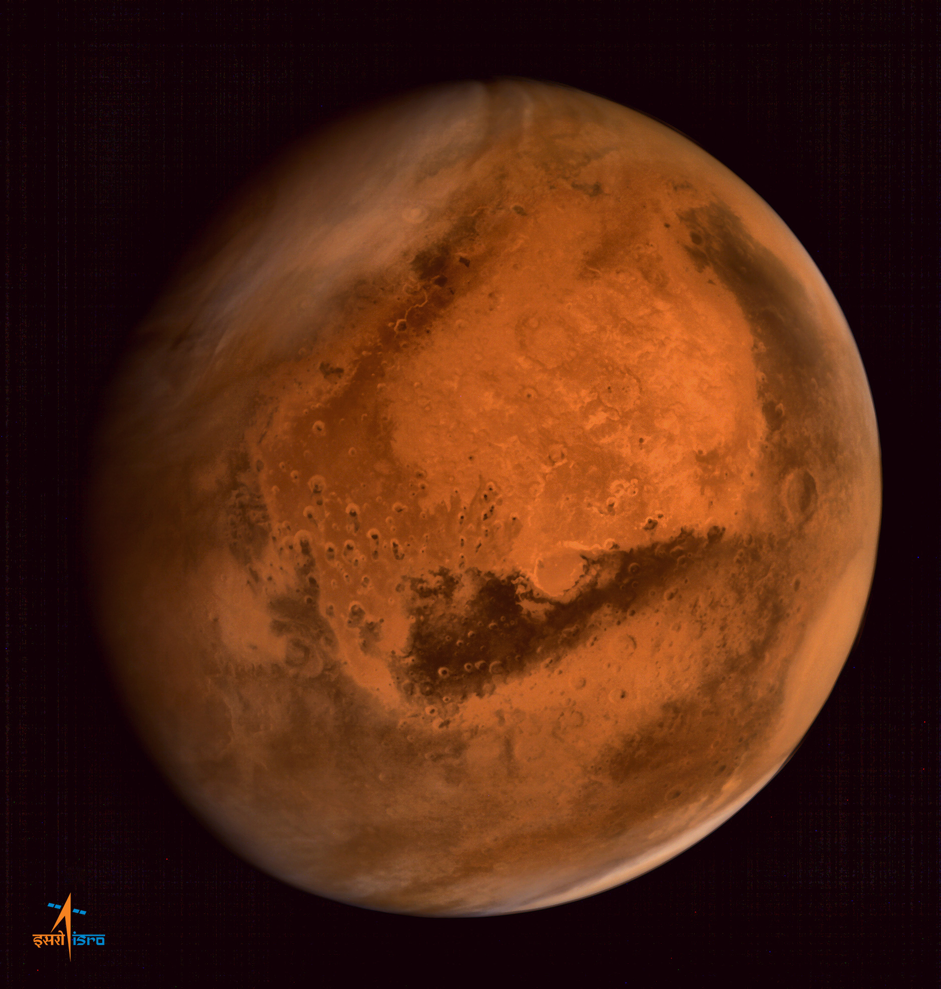 This image of Mars was taken in October 24, with MOM taking advantage of its elliptical orbit to capture the planet's breadth. Credit: ISRO