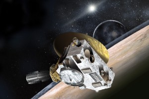An artist's impression of New Horizons flying by Pluton, with Charon visible in the background. Credit: SwRI/NASA