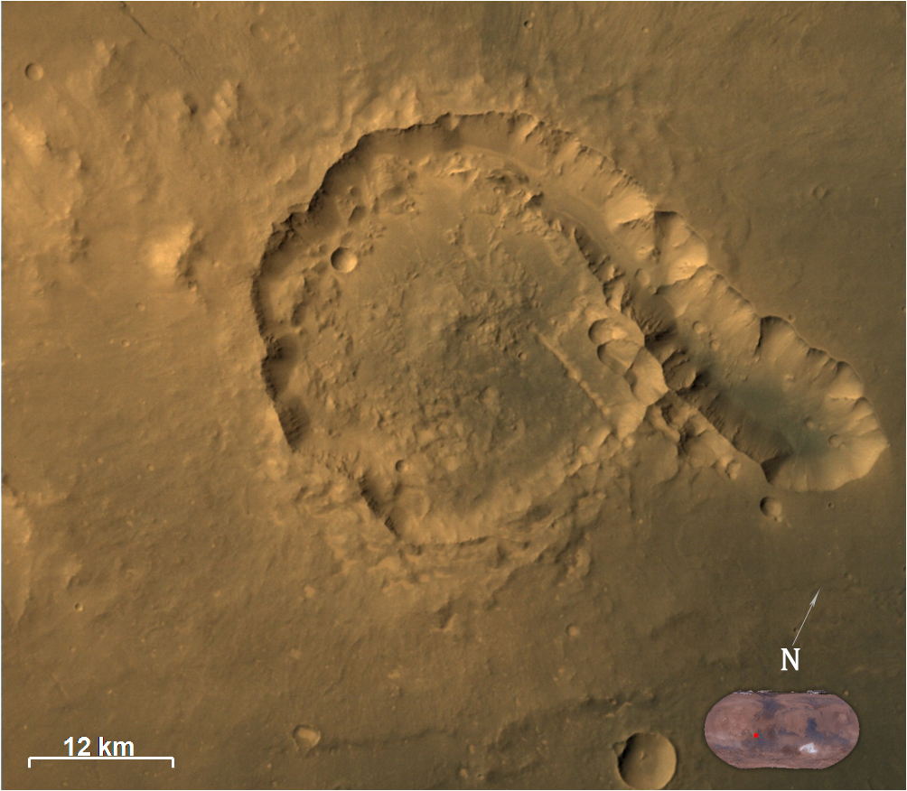 Pital crater, an impact crater located in Ophir Planum region of Mars. Credit: ISRO