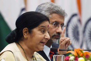 External Affairs Minister Sushma Swaraj, flanked by Foreign Secretary S. Jaishankar, at a press conference in New Delhi on Sunday. Photo: PTI