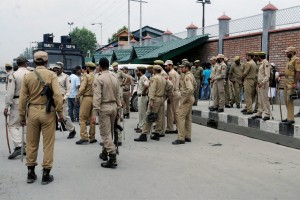 Police deployed around the Civil Secretariat in Srinagar on June 15 after the killing of a civilian by unidentified gunman in Sopore. Credit: PTI Photo