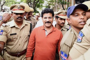 TDP legislator A. Revanth Reddy being produced in a local court in the cash-for-vote scam, in Hyderabad. Credit: PTI Photo