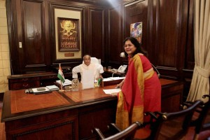 File photo of Omita Paul and Pranab Mukherjee, taken in his office when he was Finance Minister. PTI