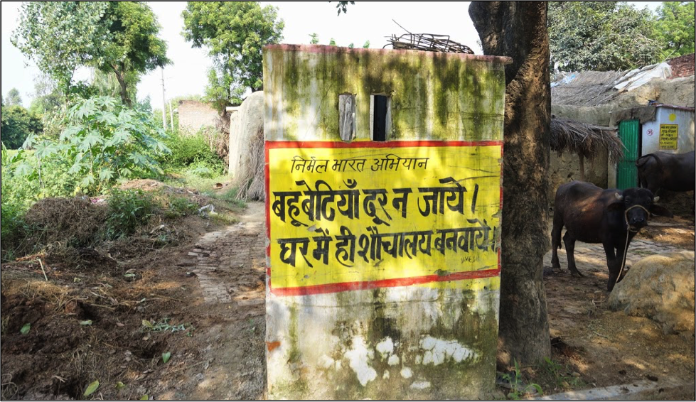 A patriarchal toilet promotion message in a village in Uttar Pradesh