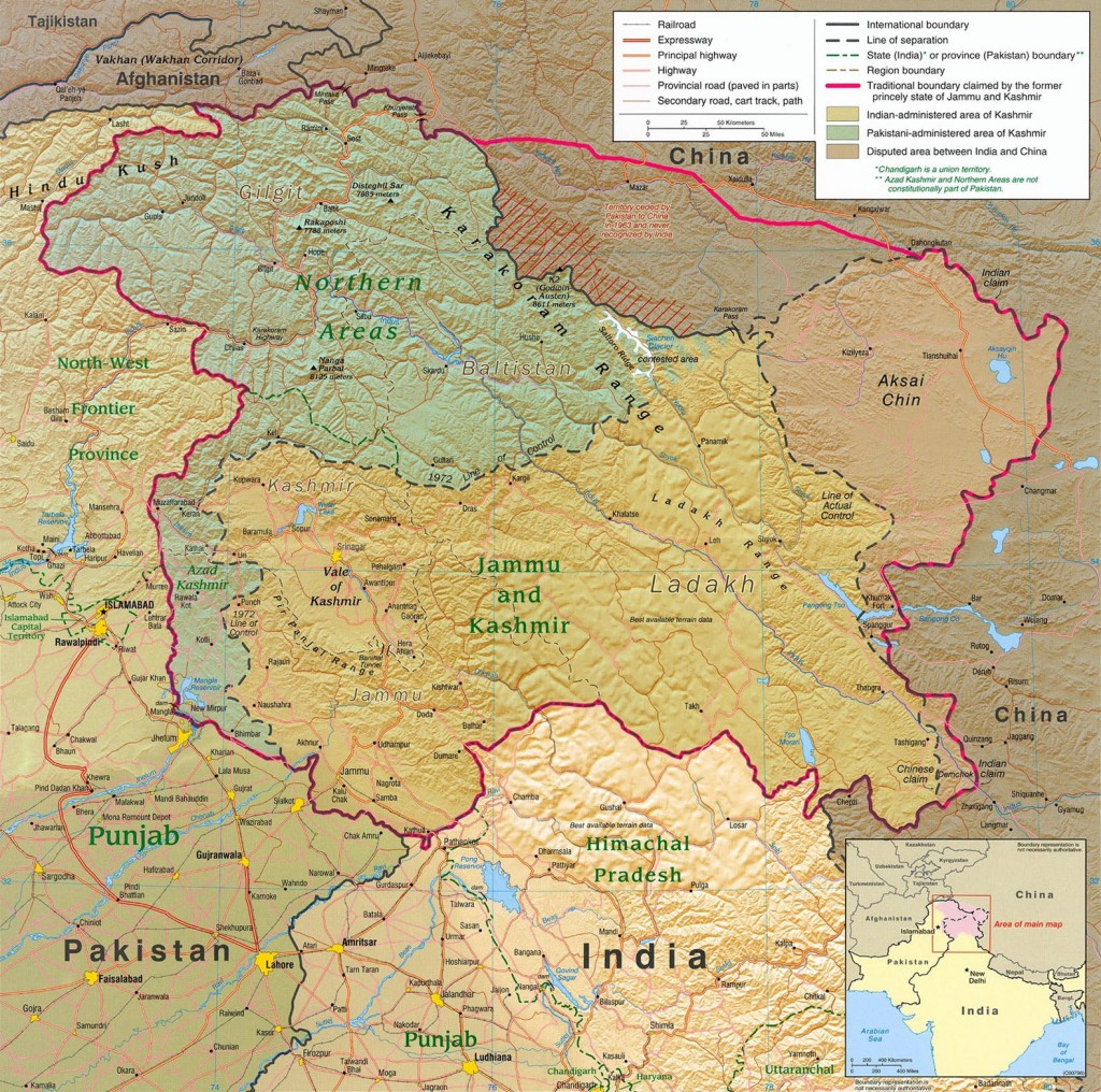Central Intelligence Agency map of the entire Kashmir region.
