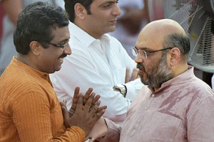 File photo of Ram Madhav and BJP president Amit Shah. PTI
