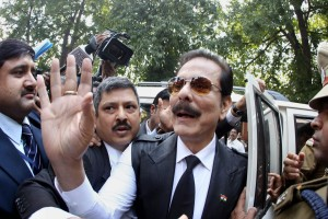 File picture of the Chairman of Sahara India Pariwar Subrata Roy, as he arrives at the Supreme Court for a hearing in 2014. Credit: PTI/Shahbaz Khan.