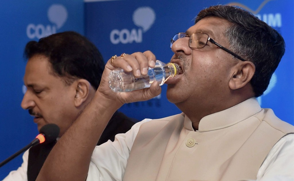 I THINK I JUST SWALLOWED THE BLUE PILL: File photo of Minister for Communication and  IT, Ravi Shankar Prasad  PTI Photo by Shahbaz Khan