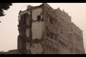 Video grab from AFP's report on YouTube shows the damage caused to some of Sanaa's historic homes by Saudi bombing.