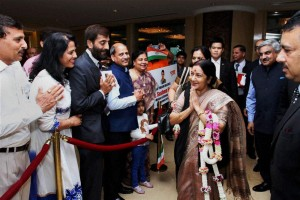 External Affairs Minister greets the Indian community during a reception organised in her honour at Bangkok on Sunday. PTI Photo
