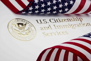 Photograph of a US Department of Homeland Security logo. Credit: USCIS