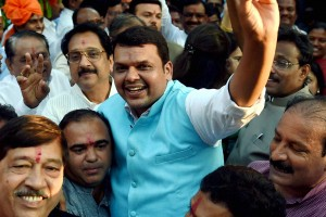 File photo of Maharashtra Chief Minister Devendra Fadnavis celebrating the  BJP's victory in the Maharashtra Assembly elections . PTI Photo by Shashank