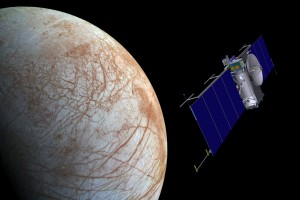 Artist concept of NASA's Europa mission spacecraft approaching its target for one of many flybys. Credit: NASA/JPL-Caltech