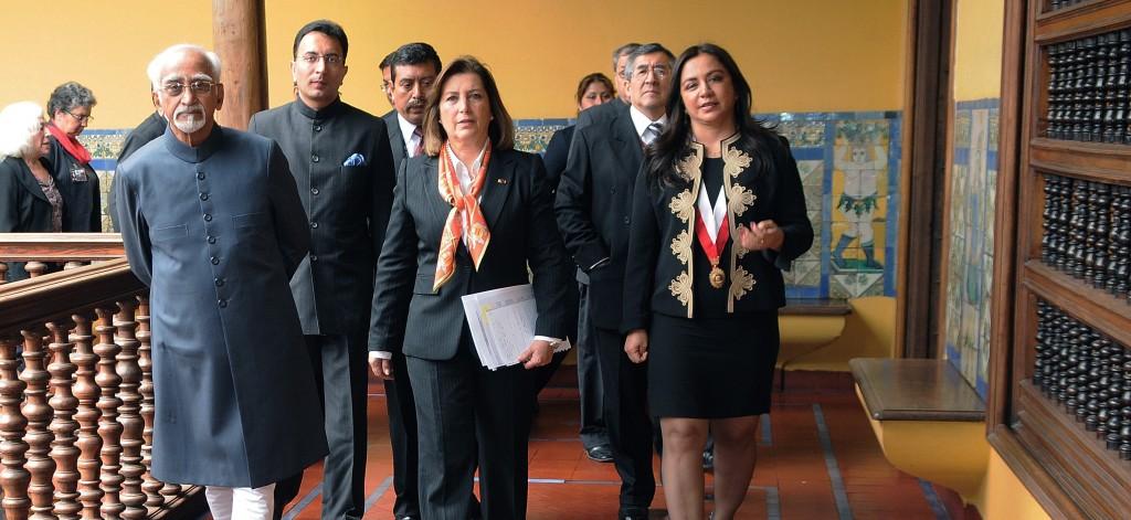 Vice President Hamid Ansari during an official visit to Peru in 2013. Photo:  Ministerio de Relaciones Exteriores, Peru.