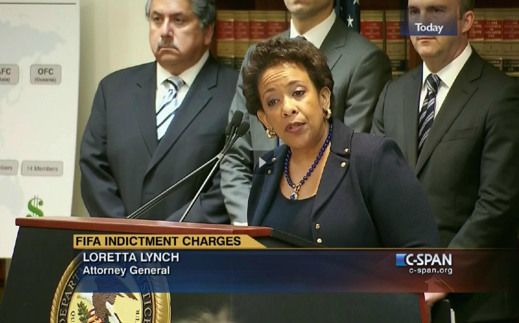 US Attorney General Loretta Lynch announcing the indictment of FIFA officials on May 27. Image: C-Span