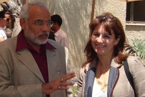 Narendra Modi, then Chief Minister of Gujarat, with Anat Bernstein-Reich, president of the Israel-India Friendship Association, during his visit to Israel in 2007. Photo credit: Anat Bernstein-Reich