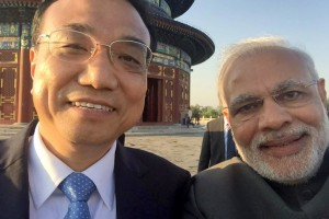 Prime Minister Narendra Modi and Chinese Premier Li Keqiang take a 'selfie' together in Shanghai, May 2015.
