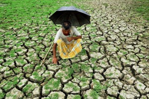 A farmer at a dry paddy field at Gour in Malda district of West Bengal. Credit: PTI