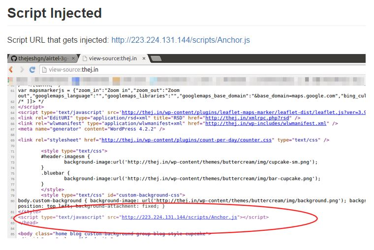 A screenshot of the script found to have been injected without the user's permission. Credit: Screengrab from GitHub