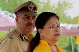 Rajasthan Chief Minister Vasundhara Raje at a police event in Jaipur on Friday. PTI photo.