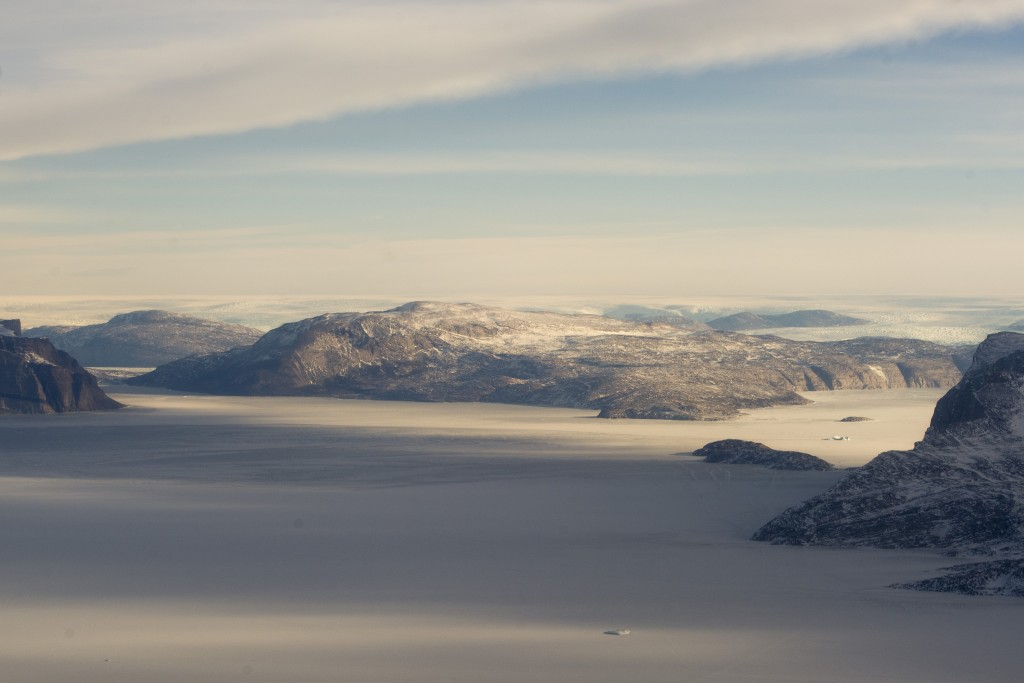 An aerial view of the landscape near Uummannaq, Greenland, and the fastest moving glacier on the planet. Photo: United Nations, CC 2.0