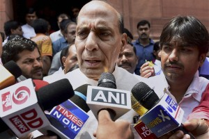 Home Minister Rajnath Singh speaks to media at Parliament house in New Delhi. Credit: PTI Photo