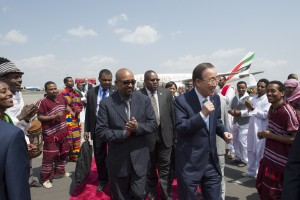 Secretary-General Ban Ki-moon arrives in Addis Ababa for Financing For Development Conference.