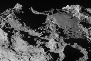The building blocks of life are lurking on the dark and barren surface of Comet 67P. Credit: ESA/Rosetta/NAVCAM, CC BY-SA