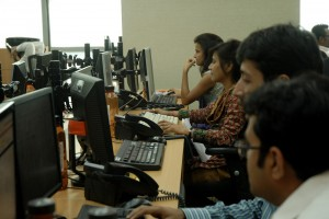Trading room of an Indian brokerage house . Source: Flickr
