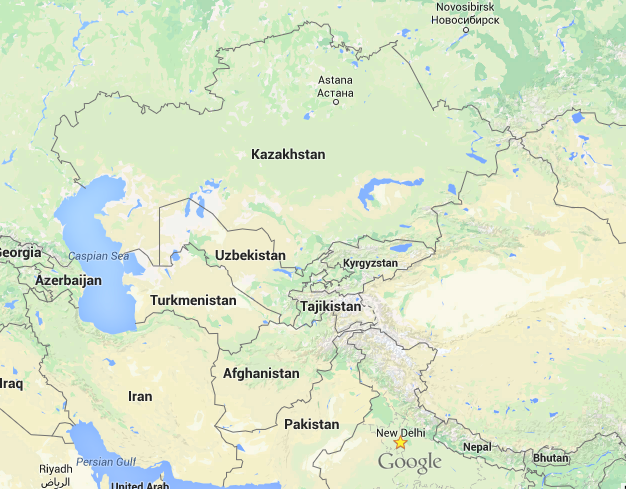 Map of Central Asia.Credit: Google Maps