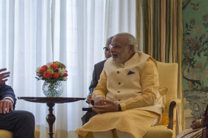 Secretary of Defense Chuck Hagel meets with Prime Minister of India Narendra Modi at Blair House in Washington D.C., Sept 30, 2014. (DoD Photo by Master Sgt. Adrian Cadiz)