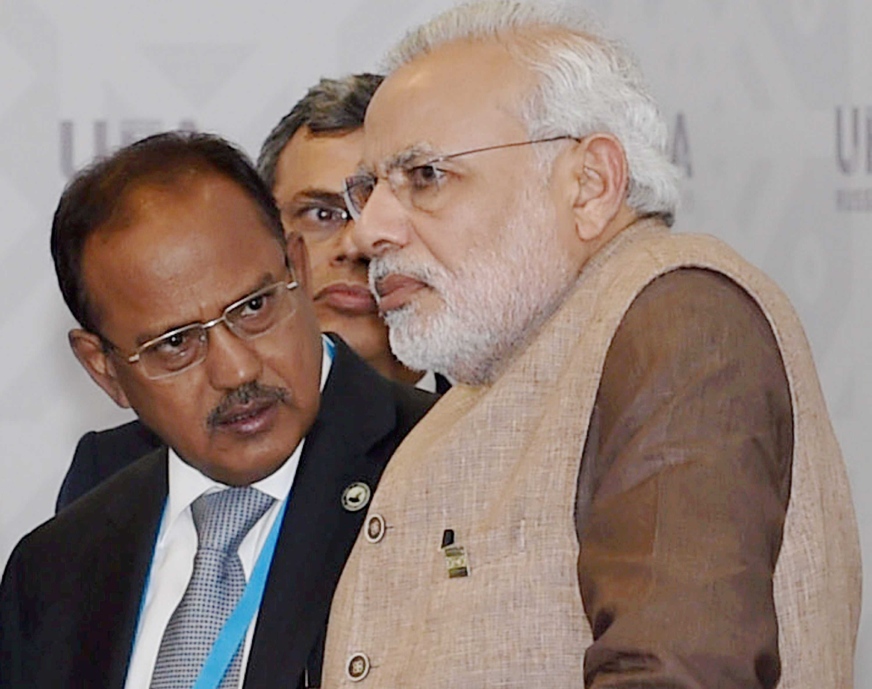 Prime Minister Narendra Modi with NSA Ajit Doval before a meeting in Ufa last Friday. PTI Photo by Manvender Vashist