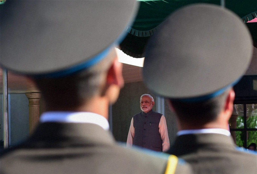 Prime Minister Narendra Modi during a welcome ceremony at the Presidential complex in Tashkent, Uzbekistan on Monday. PTI Photo by Manvender Vashist