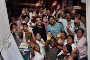 Anshu Gupta celebrates  with colleagues of his NGO, Goonj. Credit: PTI Photo by Subhav Shukla