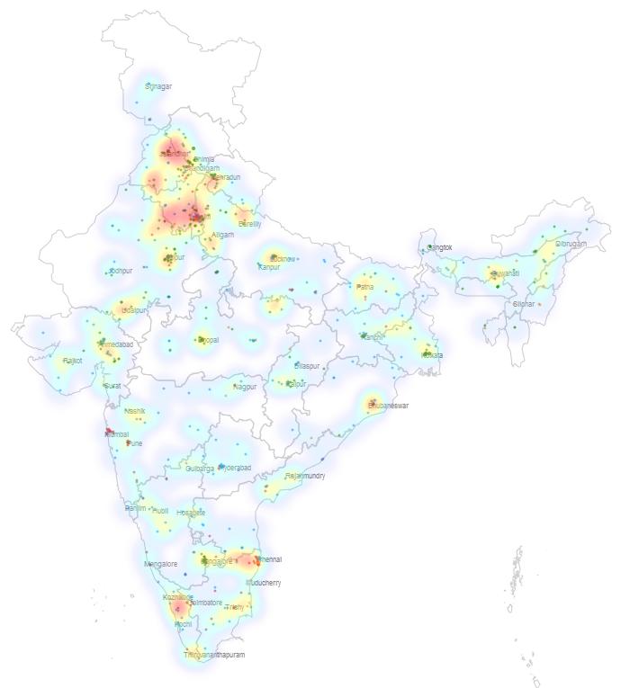 Heatmap of Indian universities.