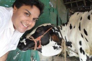 The author with Sakshi, the cow that made him emotionally safe. Source: Amit Vaidya.