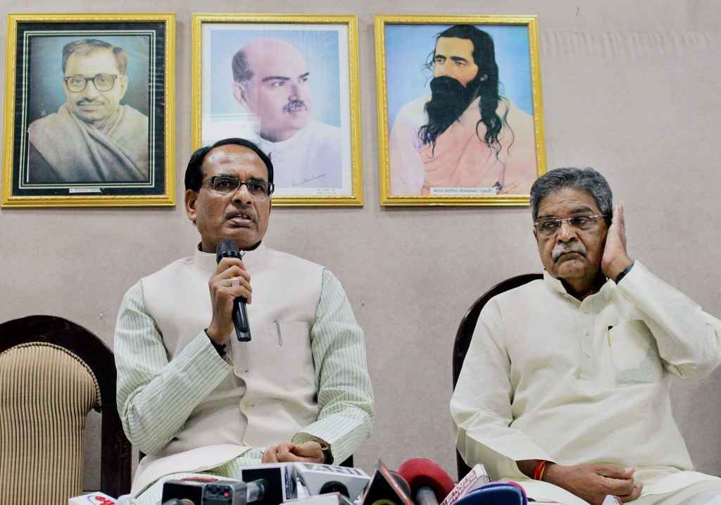 Madhya Pradesh Chief Minister Shivraj Singh Chouhan addresses a press conference in connection with the death of the people linked to the Vyapam scam in Bhopal on Sunday. PTI Photo