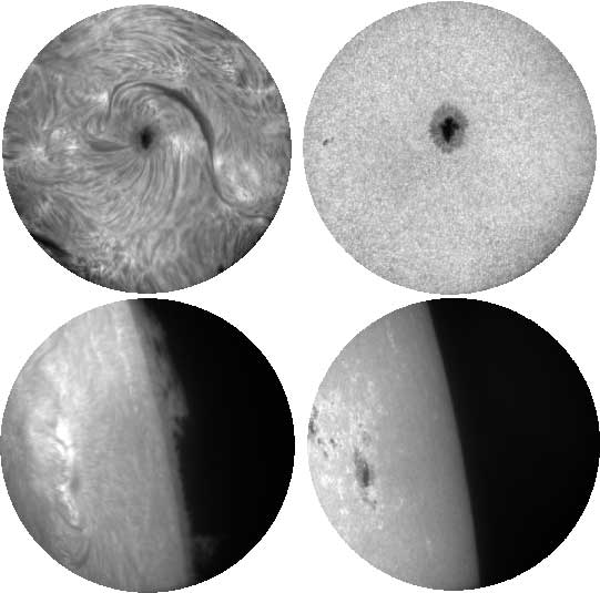 Images taken by MAST during tests. Top row: Chromospheric (left) and photospheric (right) images of a sunspot taken in H-alpha and G-band wavelengths. The sunspot is part of an active region, taken on June 5, 2015 Bottom row: Chromospheric (left) image of a prominence seen off the solar limb in H-alpha and the corresponding photospheric (right) image in G-band wavelengths taken on June 5, 2015. Credit: ISRO