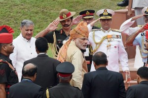 Prime Minister Narendra Modi and others during the 69th Independence Day function at the historic Red Fort in New Delhi. Credit: PTI Photo
