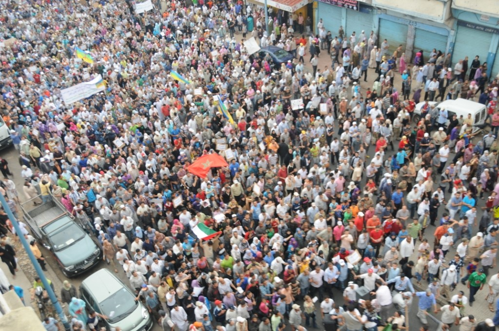 Moroccans in a rally during the Arab Spring. Credit: magharebia/Flickr, CC BY 2.0